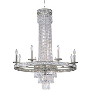 Mercer Olde Silver Twelve-Light Chandelier with Hand Polished Crystal