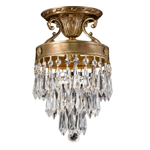 Regal Aged Brass One-Light Crystal Semi-Flush