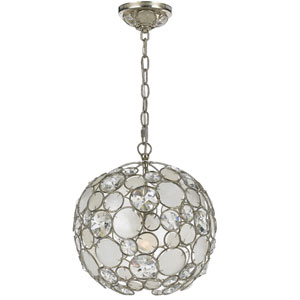 Palla Antique Silver One-Light Pendant with Natural White Capiz Shell and Hand Cut Crystal