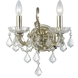 Highland Park Olde Silver Two Light Wall Sconce with Clear Hand Cut Crystal