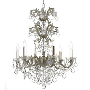 Highland Park Olde Silver Six Light Chandelier with Clear Hand Cut Crystal