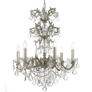 Highland Park Olde Silver Six Light Chandelier with Clear Swarovski Strass Crystal