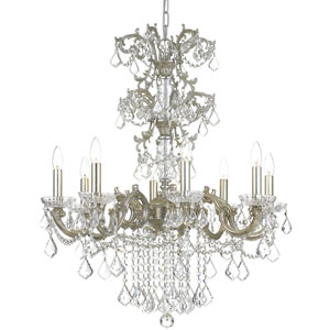 Highland Park Olde Silver Eight Light Chandelier with Clear Hand Cut Crystal