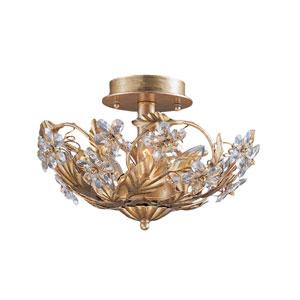 Abbie Gold Leaf Three-Light Hand Cut Crystal Semi Flush