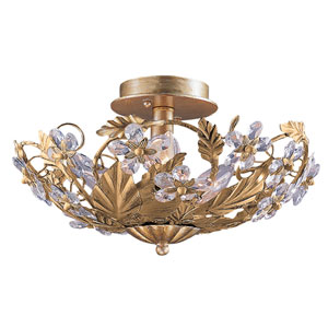 Abbie Gold Leaf Six-Light Hand Cut Crystal Semi Flush