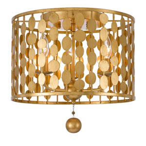 Layla Antique Gold Three-Light Ceiling Mount