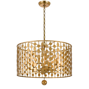 Layla Antique Gold Six-Light Chandelier