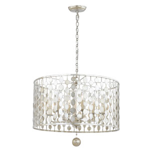 Layla Antique Silver Six-Light Chandelier