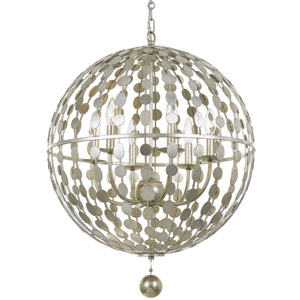 Layla Antique Silver Six Light Chandelier