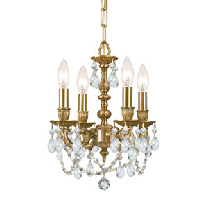 Mirabelle Aged Brass Clear Majestic Crystal Four-Light Chandelier