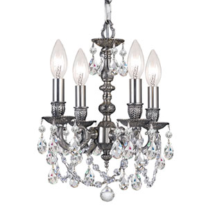 Mirabella Cast Brass Pewter Four-Light Mini Chandelier with Swarovski Strass Crystal