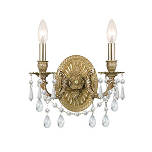 Gramercy Aged Brass Clear Majestic Wood Polished Crystal Two-Light Wall Sconce