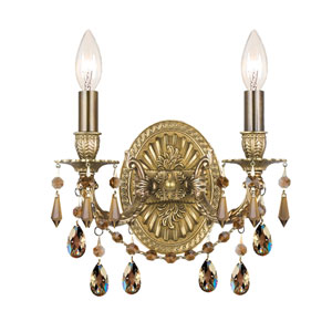 Gramercy Aged Brass Golden Teak Strass Crystal Two-Light Wall Sconce