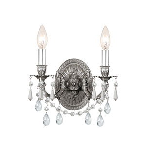 Gramercy Pewter Clear Majestic Wood Polished Crystal Two-Light Wall Sconce