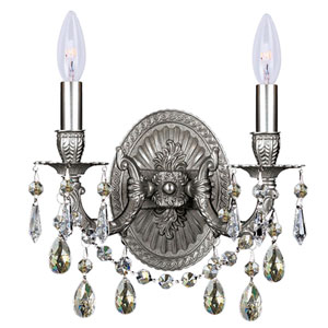 Mirabella Ornate Casted Silver Shade Strass Crystal Sconce