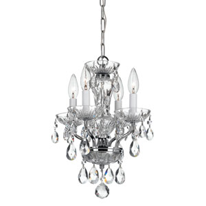 Traditional Crystal Chrome Four-Light Mini Chandelier