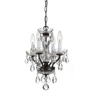 Traditional English Bronze Four Light Chandelier with Clear Swarovski Strass Crystal