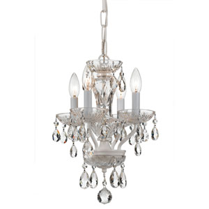 Traditional Wet White Four Light Mini-Chandelier with Clear Spectra Crystal