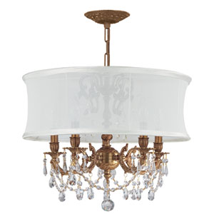 Brentwood Aged Brass Five-Light Chandelier with Hand Polished Crystal and Smooth Antique White Shade