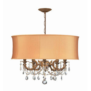 Brentwood Aged Brass Five-Light Chandelier with Swarovski Spectra Crystal and Harvest Gold Shade