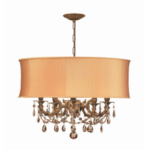 Brentwood Aged Brass Five-Light Chandelier with Golden Teak Hand Polished Crystal and Harvest Gold Shade