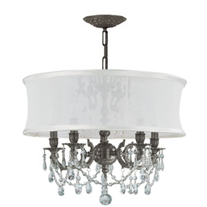 Brentwood Pewter Five-Light Chandelier with Swarovski Spectra Crystal and Smooth Antique White Shade