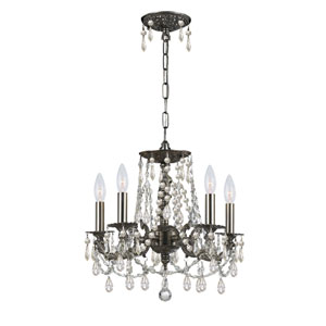 Mirabella Pewter Five-Light Chandelier with Hand Polished Crystal