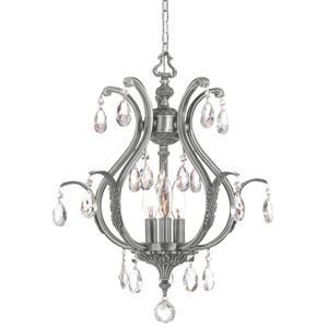 Dawson Pewter Three-Light Convertible Mini Chandelier with Swarovski Spectra Crystals