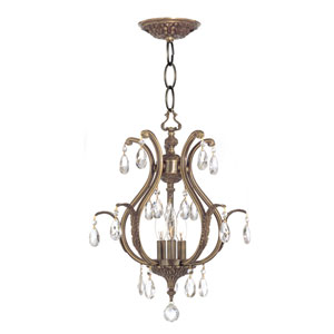 Dawson Antique Brass Three-Light Convertible Mini Chandelier with Hand Polished Crystals