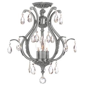 Dawson Pewter 16-Inch Six Light Elements Crystal Semi Flush Mount