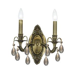 Dawson Antique Brass Two-Light Golden Teak Hand Cut Wall Sconce