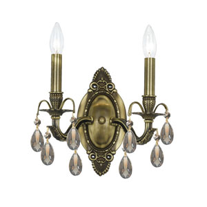 Dawson Antique Brass Two-Light Golden Teak Swarovski Strass Wall Mount