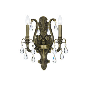 Dawson Antique Brass Two-Light Wall Sconce with Swarovski Strass Crystal