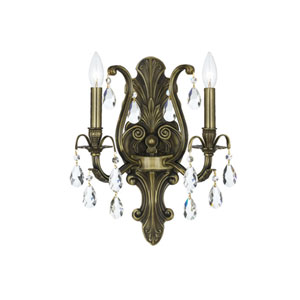 Dawson Antique Brass Two-Light Wall Sconce with Swarovski Spectra Crystal