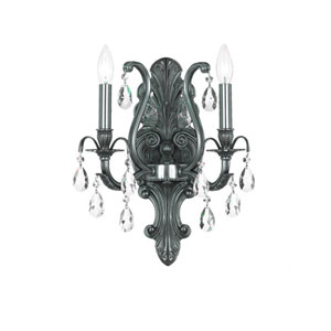 Dawson Pewter Two-Light Wall Sconce with Swarovski Spectra Crystal