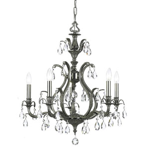 Dawson Pewter Five-Light Chandelier with Hand Polished Crystal