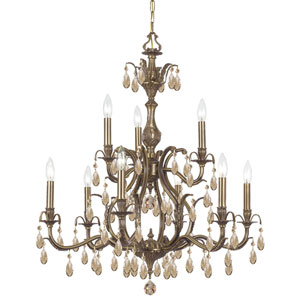 Dawson Antique Brass Nine-Light Golden Teak Hand Cut Chandelier