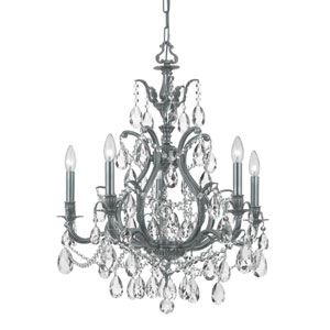 Dawson Pewter Five-Light Clear Hand Cut Crystal Chandelier