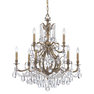 Dawson Antique Brass Nine-Light Chandelier with Clear Hand Cut Crystal