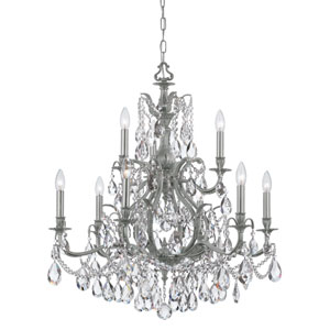 Dawson Pewter Nine-Light Chandelier with Clear Hand Cut Crystal