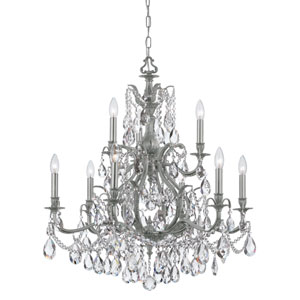 Dawson Pewter Nine-Light Chandelier with Swarovski Strass