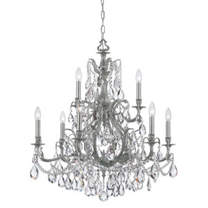 Dawson Pewter Nine-Light Chandelier with Swarovski Spectra