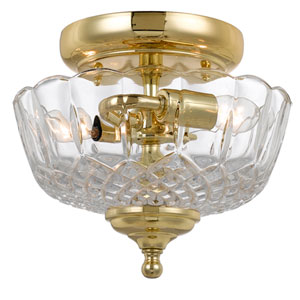 Richmond Polished Brass Two-Light Semi-Flush Mount