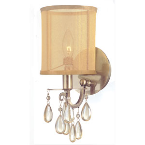 Hampton Antique Brass One-Light Wall Sconce with Etruscan Smooth Oyster Crystals