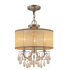 Hampton Antique Brass Three-Light Convertible Chandelier with Etruscan Smooth Oyster Crystal