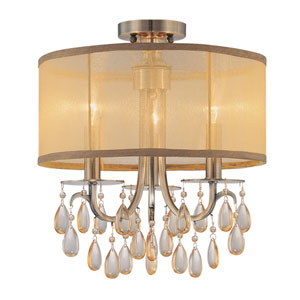 Hampton Antique Brass Three Light Etruscan Crystal Semi Flush Mount