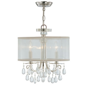 Hampton Polished Chrome Crystal Three-Light Semi-Flush
