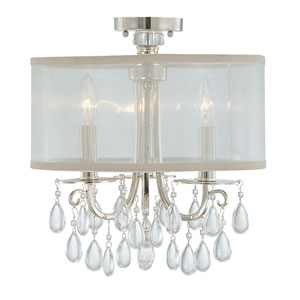 Hampton Polished Chrome Three Light Semi Flush Mount