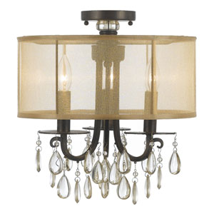 Hampton English Bronze Three Light Etruscan Crystal Semi Flush Mount