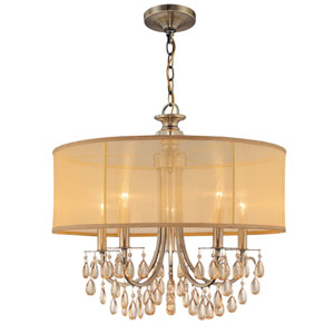 Hampton Antique Brass Five-Light Chandelier with Etruscan Smooth Oyster Crystal